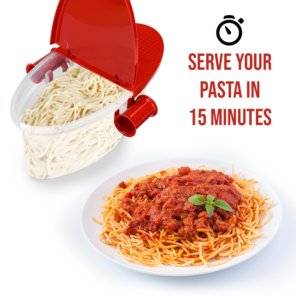 New Microwave Pasta Cooker with Strainer, Food Grade Heat Resistant