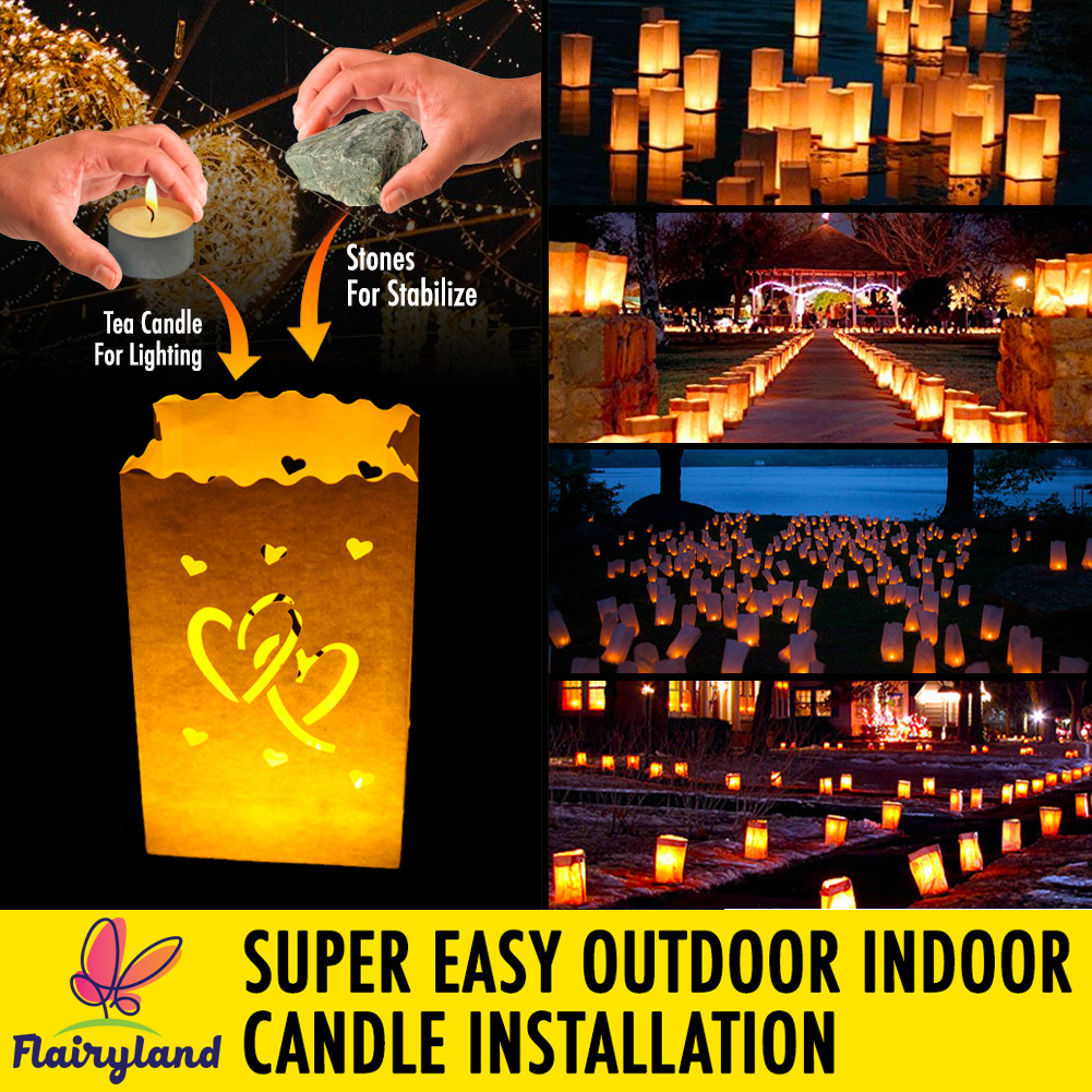 20pcs White Luminary Candle Bags Special Lantern Luminary